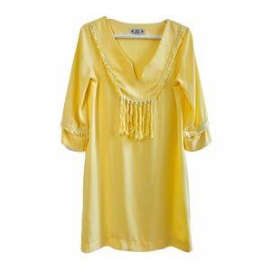 Free For Humanity Tassel Tunic Dress Yellow Boho M